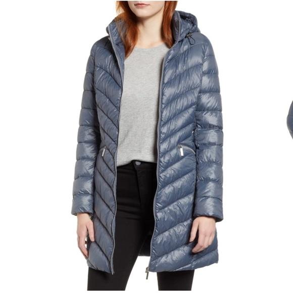 Halogen Jackets & Blazers - Halogen Hooded Down Puffer Coat Ice Blue XXL 18